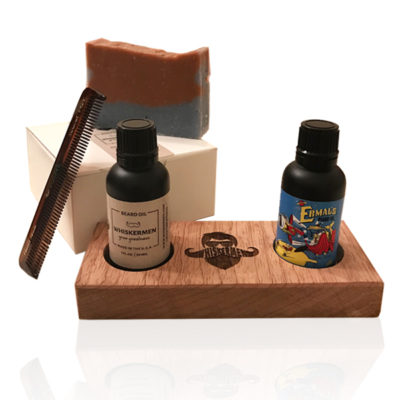 The Whiskermen Beard Soap Kit with Whiskermen Stand