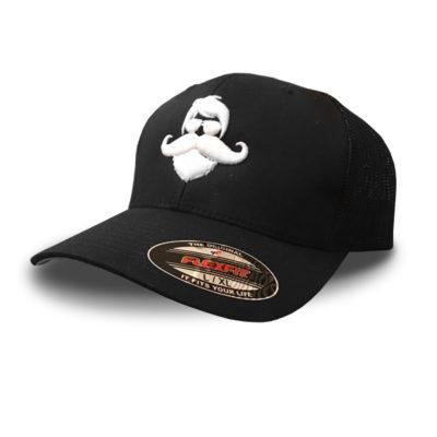 Whiskermen FlexFit Military Mesh Back Hat – White Logo